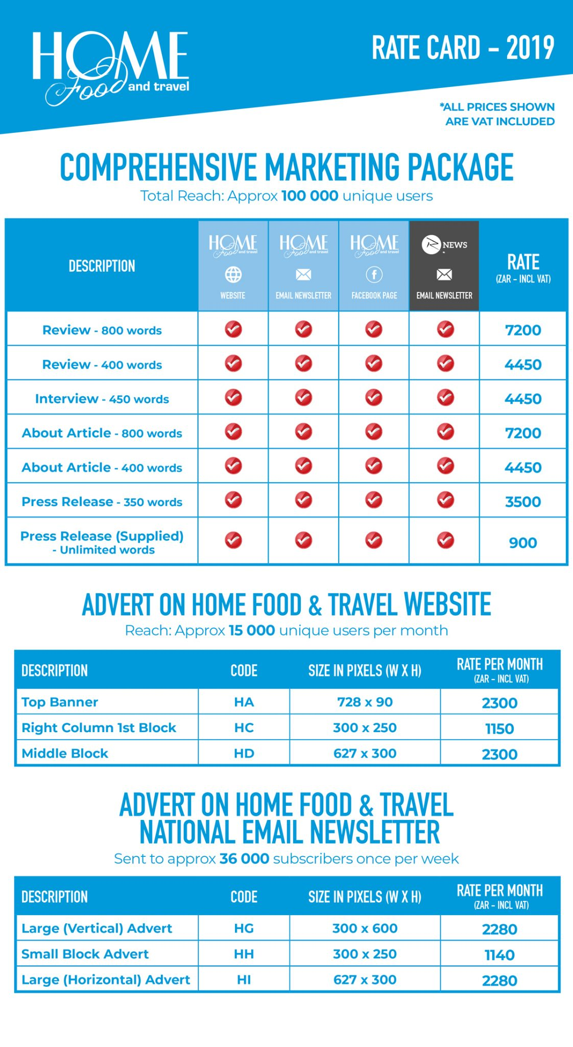 Home Food and Travel Rate Card